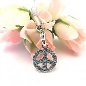 Peace Sign Cubic Stone Cell Phone Charm,Strap - Blue