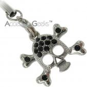 Silver Skull Face w/ Cubic Stones Charms/Straps - black