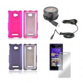 HTC 8X Girly Bundle Package w/ Hot Pink &amp; Purple Rubberized Hard Case, Mirror Screen Protector, Car &amp; Travel Charger