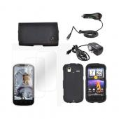 HTC Amaze 4G Essential Bundle Package w/ Black Rubberized Hard Case, 2 Pack Screen Protector, Leather Pouch, Car &amp; Travel Charger