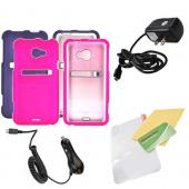 HTC EVO 4G LTE Essential Girly Bundle Package w/ Hot Pink &amp; Purple Rubberized Hard Case, Mirror Screen Protector, Car &amp; Travel Charger??