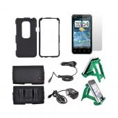 HTC EVO 3D Essential Bundle Package w/ Black Rubberized Hard Case, Screen Protector, Leather Pouch, Car &amp; Travel Charger, and Green 3Feet Holder Stand