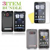 HTC EVO 4G Bundle Package - Black Hard Case, Silicone Case &amp; Screen Protector - (Essential Combo)