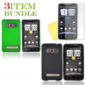 HTC EVO 4G Bundle Package - Green Hard Case, Silicone Case &amp; Screen Protector - (Essential Combo)