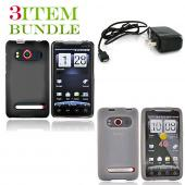 HTC EVO 4G Bundle Package - Black Hard Case, Silicone Case &amp; Travel Charger - (Essential Combo)
