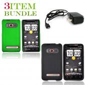 HTC EVO 4G Bundle Package - Green Hard Case, Silicone Case &amp; Travel Charger - (Essential Combo)