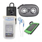 Universal Summer Bundle Package w/ DiCAPac Waterproof Phone Case, Black ClipHanger w/ Light, Solar Charger, 3.5mm Stereo Headset, and Black iLuv Speaker