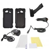 HTC Droid Incredible 4G LTE Essential Bundle Package w/ Black Rubberized Hard Case, Screen Protector, Portable Stand, Car & Travel Charger
