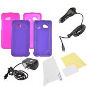 HTC Droid Incredible 4G LTE Essential Girly Bundle Package w/ Hot Pink &amp; Purple Rubberized Hard Case, Mirror Screen Protector, Car &amp; Travel Charger