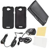 HTC One S Essential Bundle Package w/ Black Rubberized Hard Case, Anti-Glare Screen Protector, Leather Pouch, Car &amp; Travel Charger