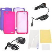 HTC One V Essential Girly Bundle Package w/ Hot Pink & Purple Rubberized Hard Case, Anti-Glare Screen Protector, Car & Travel Charger