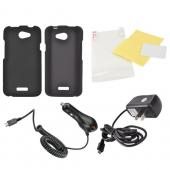 HTC One X Essential Bundle Package w/ Black Rubberized Hard Case, Screen Protector, Car &amp; Travel Charger