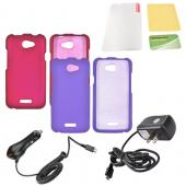 HTC One X Essential Girly Bundle Package w/ Hot Pink & Purple Rubberized Hard Case, Mirror Protector, Car & Travel Charger