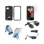 HTC Rezound Essential Bundle Package w/ Black Rubberized Hard Case, Screen Protector, Light Blue 3Feet Stand, Car & Travel Charger