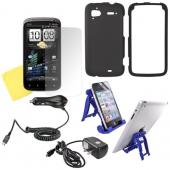 HTC Sensation 4G Essential Bundle w/ Black Rubberized Hard Case, Screen Protector, Car Charger, Travel Charger, &amp; 3Feet Holder Stand