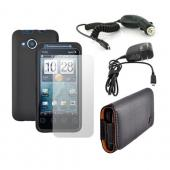 HTC EVO Shift 4G Essential Bundle w/ Black Rubberized Hard Case, Screen Protector, Leather Pouch, Car Charger, and Travel Charger