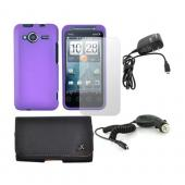 HTC EVO Shift 4G Essential Bundle w/ Purple Rubberized Hard Case, Screen Protector, Leather Pouch, Car Charger, and Travel Charger