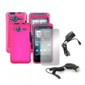 HTC EVO Shift 4G Pink Bundle w/ Hot Pink Hard Cases, Mirror Screen Protector, Car Charger, and Travel Charger