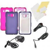 HTC Titan 2 Essential Girly Bundle Package w/ Hot Pink & Purple Rubberized Hard Case, Anti-Glare Screen Protector, Car & Travel Charger
