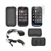 AT&amp;T Fusion U8652 Essential Bundle Package w/ Black Rubberized Hard Case, Screen Protector, Leather Pouch, Car &amp; Travel Charger
