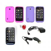 AT&T Fusion U8652 Essential Girly Bundle Package w/ Hot Pink & Purple Rubberized Hard Case, Anti-Glare Screen Protector, Red Gem Stopple, Car & Travel Charger