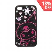 Officially Licensed Sanrio Kuromi AT&T/ Verizon Apple iPhone 4, iPhone 4S iDress Bling Hard Case, I4S-KU1 - Pink/ Purple Stars w/ Skull on Black Gems