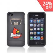 AT&amp;T/ Verizon Apple iPhone 4, iPhone 4S Rubberized Bottle Opener Hard Case - Red Louisville Cardinals on Black