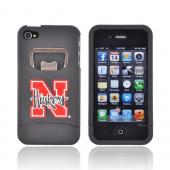 AT&amp;T/ Verizon Apple iPhone 4, iPhone 4S Rubberized Bottle Opener Hard Case - Red Nebraska Cornhuskers on Black