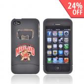 AT&amp;T/ Verizon Apple iPhone 4, iPhone 4S Rubberized Bottle Opener Hard Case - University of Maryland Terrapins on Black