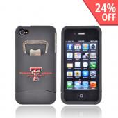 AT&amp;T/ Verizon Apple iPhone 4, iPhone 4S Rubberized Bottle Opener Hard Case - Texas Tech Red Raiders on Black