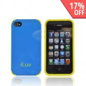 Original iLuv Regatta AT&T/ Verizon Apple iPhone 4, iPhone 4S Dual Layer Hard Case on TPU, ICC760BLU - Blue/ Yellow