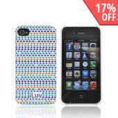 Original iLuv Festival AT&T/ Verizon Apple iPhone 4, iPhone 4S Hard Case Cover, ICC763BLU - Blue/ Green/ Purple iLuv Pattern on White