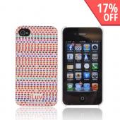 Original iLuv Festival AT&amp;T/ Verizon Apple iPhone 4, iPhone 4S Hard Case Cover, ICC763RED - Red/ Purple/ Orange iLuv Pattern on White