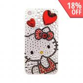 Officially Licensed Sanrio Hello Kitty AT&amp;T/ Verizon Apple iPhone 4, iPhone 4S iDress Bling Hard Case, ID-27KT - Red Heart &amp; Bow Hello Kitty on Silver Gems