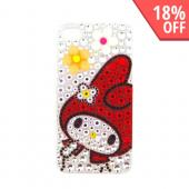 Officially Licensed Sanrio My Melody AT&amp;T/ Verizon Apple iPhone 4, iPhone 4S iDress Bling Hard Case, ID-37MM - Orange/ White Flowers on Silver/ Red Gems