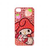 Officially Licensed Sanrio My Melody AT&amp;T/ Verizon Apple iPhone 4, iPhone 4S iDress Bling Hard Case, ID-38MM - Pink/ Hot Pink Strawberries on Pink Gems