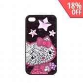 Officially Licensed Sanrio Hello Kitty AT&amp;T/ Verizon Apple iPhone 4, iPhone 4S iDress Bling Hard Case, ID-58KT - Pink/ Purple Stars Hello Kitty on Black Gems