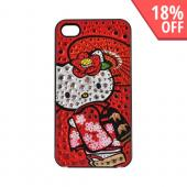 Officially Licensed Sanrio Hello Kitty AT&amp;T/ Verizon Apple iPhone 4, iPhone 4S iDress Bling Hard Case, ID-89KT - Kimono Hello Kitty w/ Silver/ Red Gems