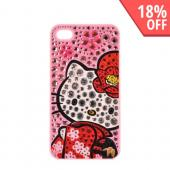 Officially Licensed Sanrio Hello Kitty AT&amp;T/ Verizon Apple iPhone 4, iPhone 4S iDress Bling Hard Case, ID-90KT - Kimono &amp; Flowers Hello Kitty w/ Silver/ Pink Gems