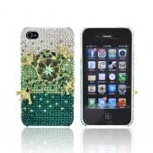 Super Ultra-Premium AT&amp;T Apple iPhone 4 Handmade 3D Swarovski Compatible Bling Hard Case - Gold/ Green Frog on Green/ Silver Gems