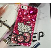 Hello Kitty w/ Bow & Hot Pink Jewels Clear Hard Case for Apple iPhone 5/5S