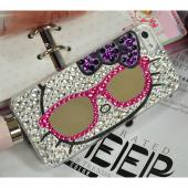 Hello Kitty w/ Mirror Glasses & Silver Jewels Clear Hard Case for Apple iPhone 5