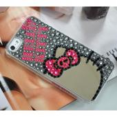 Hello Kitty Silhouette w/ Mirror on Gray Jewels Clear Hard Case for Apple iPhone 5