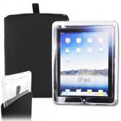 &quot;Exclusive&quot; Apple iPad (1st Gen) Wifi 3G Rugged Heavy Duty Nylon Case Sleeve w/ Pull Tab &amp; Protective Clear Case Combo - Black
