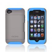 Original Incipio Stowaway AT&T/ Verizon Apple iPhone 4, iPhone 4S Hard Case on Silicone w/ ID & Card Compartment & Screen Protector, IPH-676 - Gray/ Blue