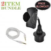 Apple iPhone 4 Bundle Package - Original iLuv Remote Adapter & Macally Cup Holder Mount - (Roadster Combo)