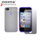 Apple iPhone 4 Combo w/ Speck CandyShell Case &amp; Premium Screen Protector - PaleMoon Gray