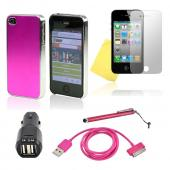 AT&T/ Verizon Apple iPhone 4, iPhone 4S Hot Pink Bundle w/ Hard Case w/ Hot Pink Aluminum Back, Hot Pink Data Cable, Pink Stylus , Black Dual USB Car Adapter, & Mirror Screen Protector