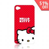 Original Hello Kitty AT&amp;T Apple iPhone 4 Hard Back Cover Case, KT4488R4 - Hello Kitty on Red