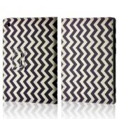 Purple/ White Zig Zag Faux Leather Case w/ Stand for Universal 10&quot; Tablets (Like iPad or Nexus 10)